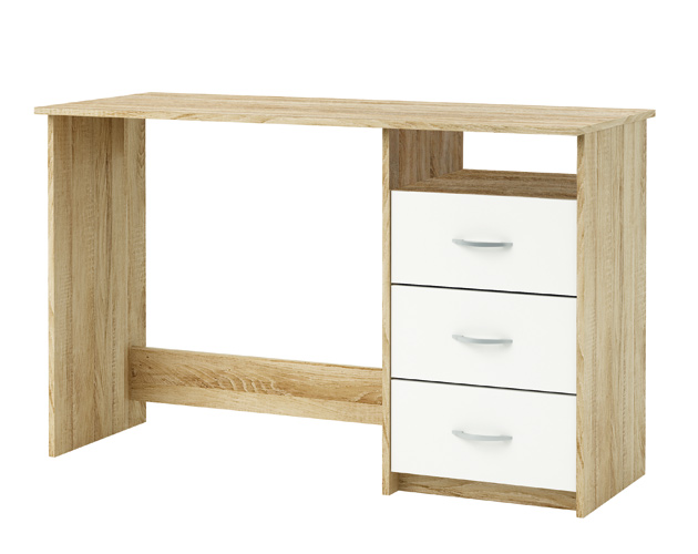 Atlas nc bureau studio tiroirs niche chene blanc